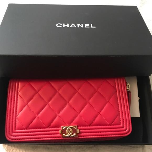 CHANEL Handbags - CHANEL Lambskin Large Boy ZIP around wallet